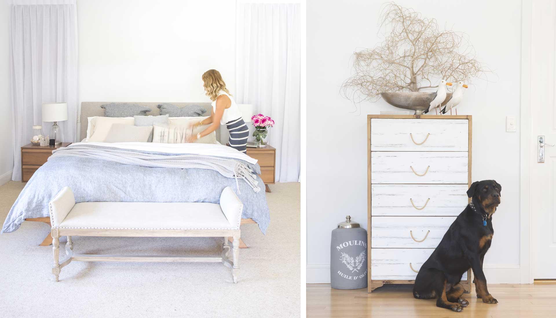main bedroom Danni white and grey dresser design by danni