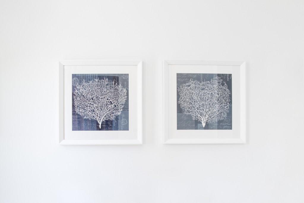 entrance blue and white framed artwork