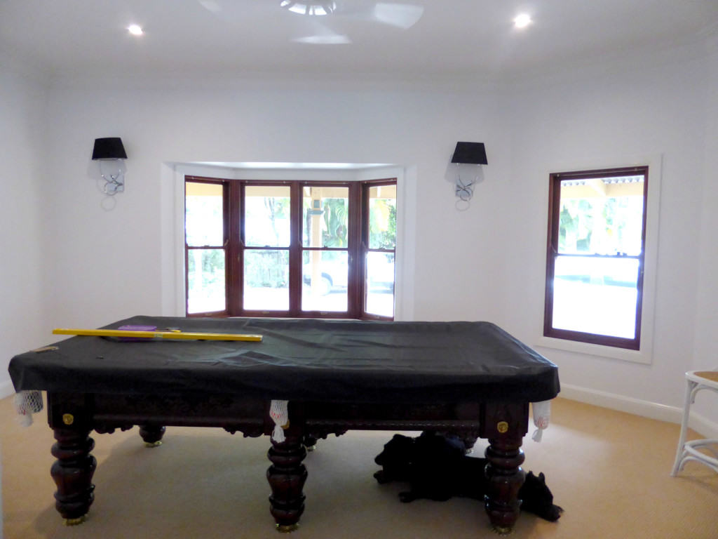 pool room after painting all white