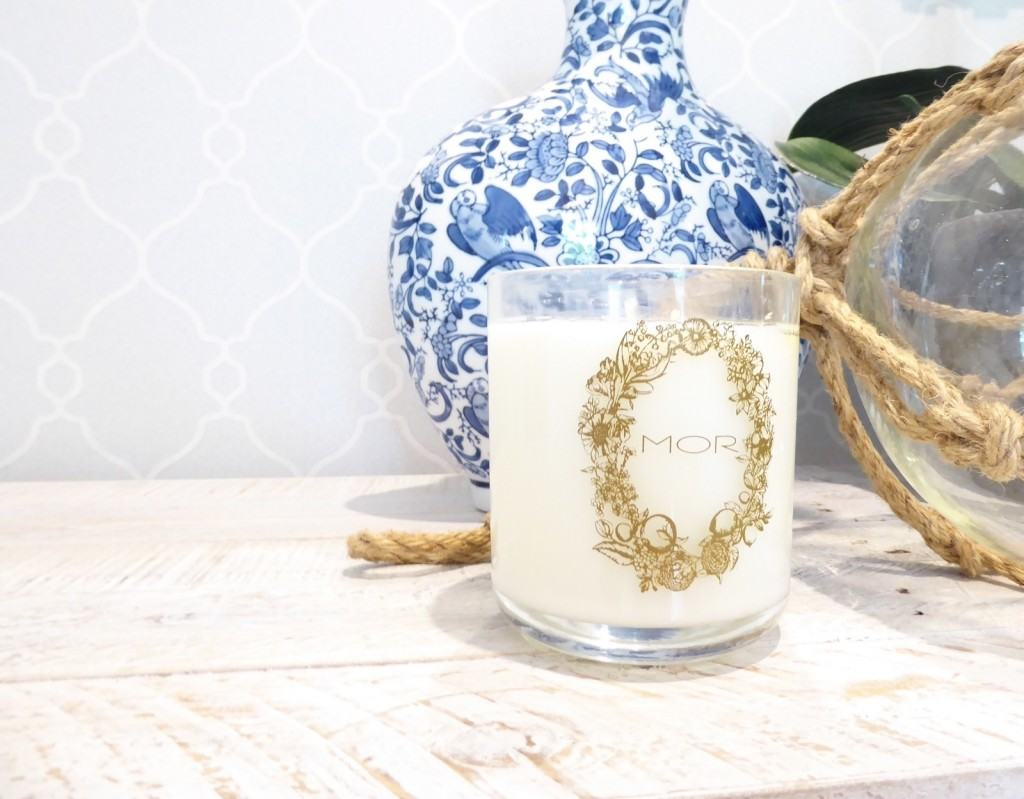 entrance wallpaper decor and candle detailing