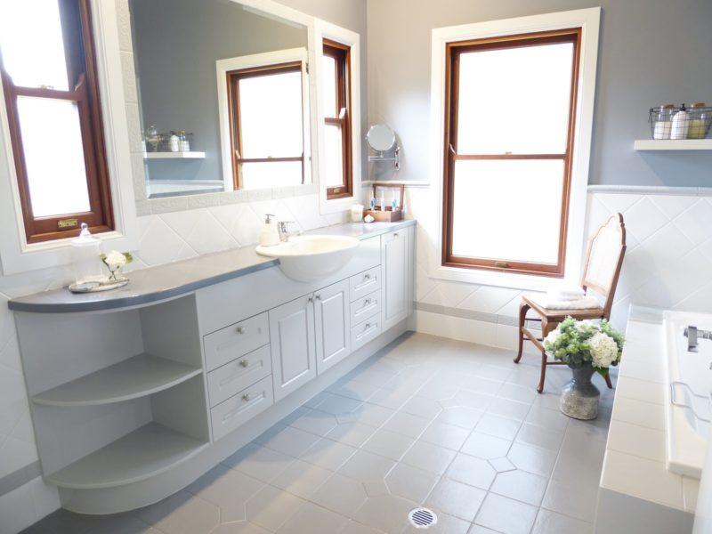 kids bathroom makeover completed vanity, floor tiles and window