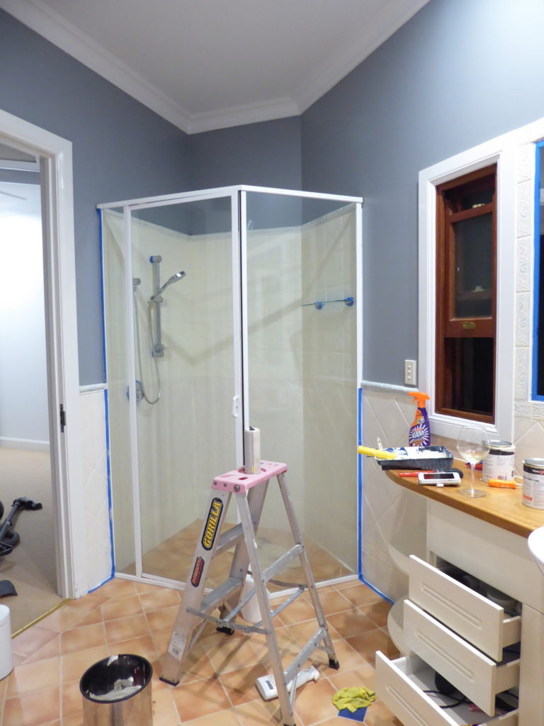 Kids Bathroom after painting the walls and undercoating the wall tiles