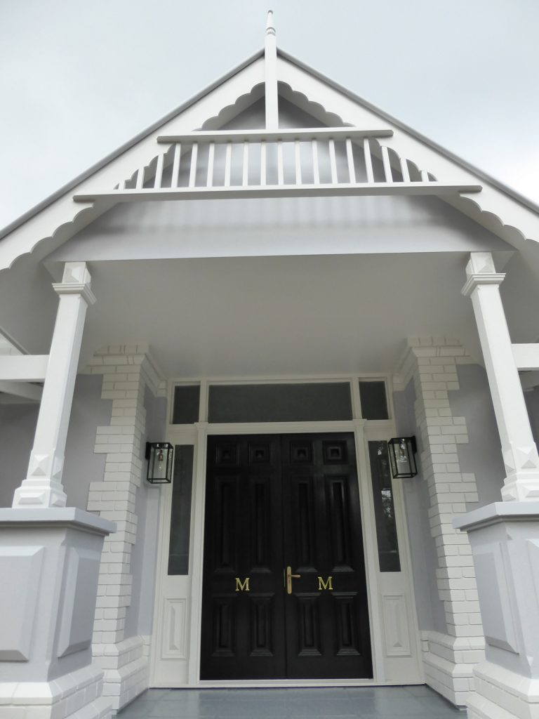 completed front of exterior entry
