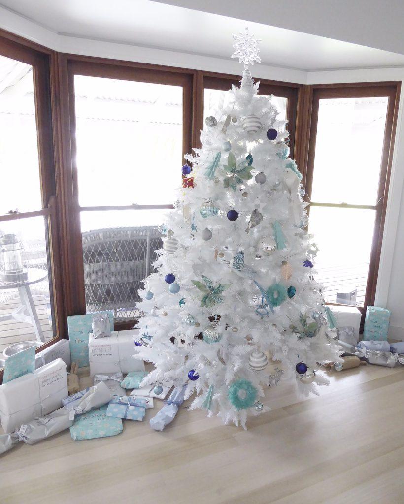 Christmas Day table set christmas tree and gifts
