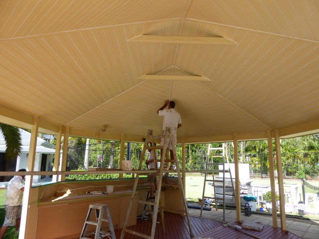 the original gazebo being prepared by corking the VJ ceiling and joins