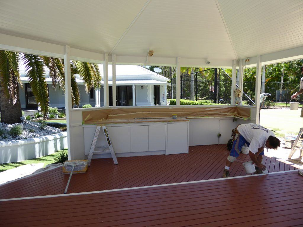 Gazevo being painted, white cabinetry detail