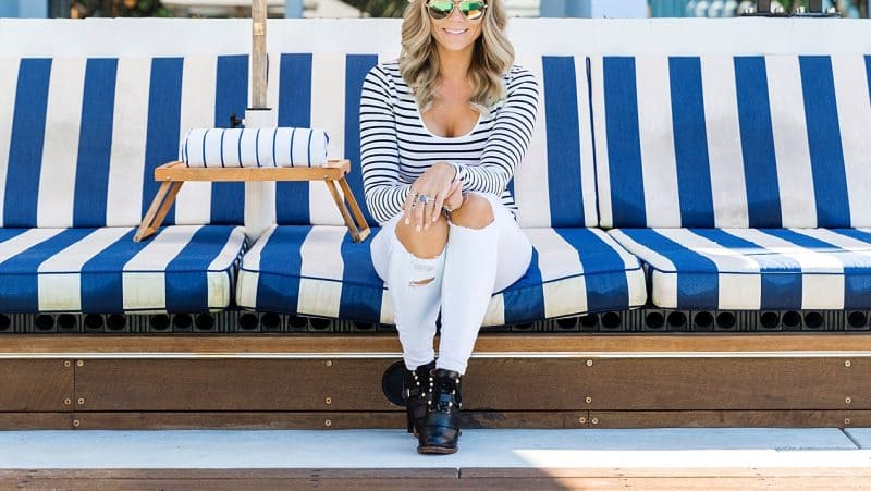 halcyon house blue and white striped sun beds danni morrison
