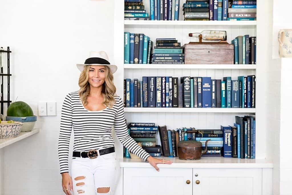 blue and white book shelving halcyon house byron bay getaway