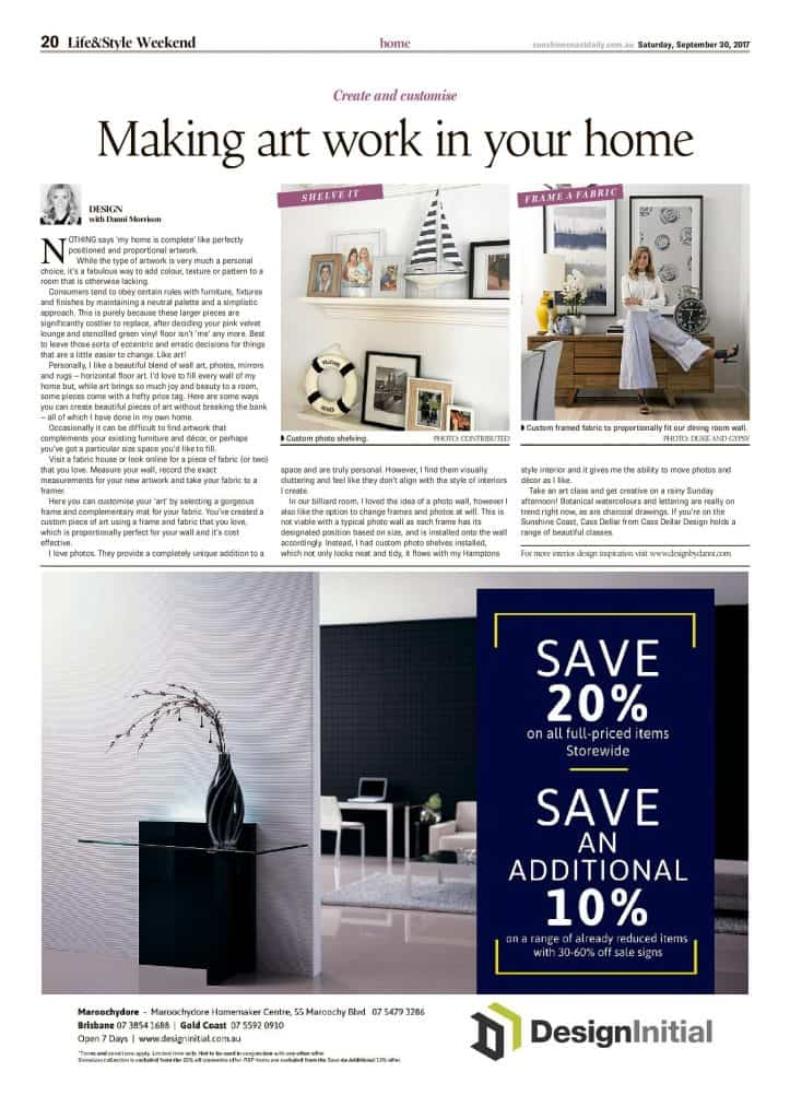 making art work in your home press features sunshine coast daily article