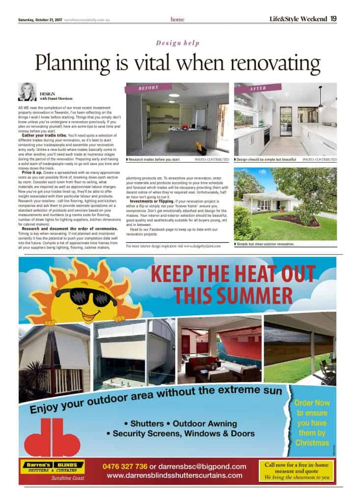 The Sunshine Coast Daily weekend edition Life and Style magazine - Planning is Vital When Renovating