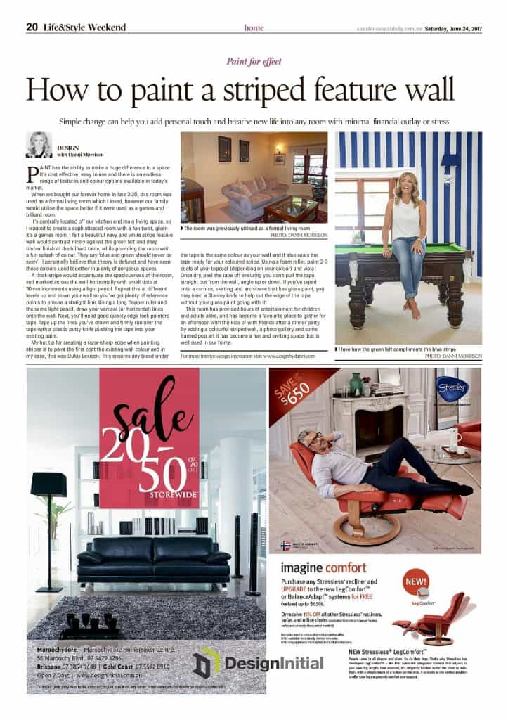 how to paint a striped feature wall press features sunshine coast daily article