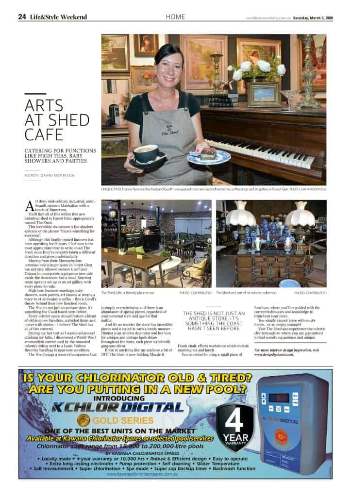 The Sunshine Coast Daily weekend edition Life and Style magazine - Arts at Shed Cafe