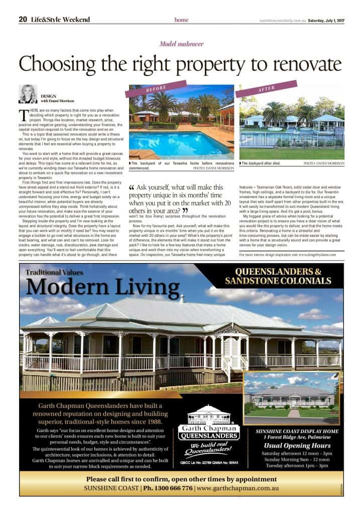 Choosing the right property to renovate press features sunshine coast daily article