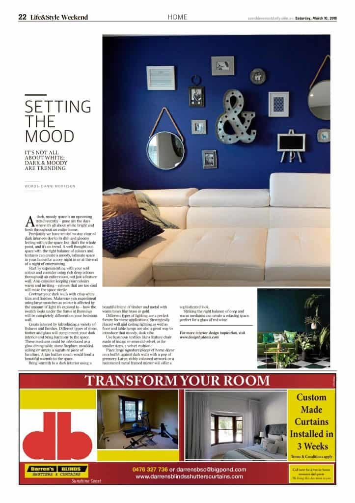 The Sunshine Coast Daily weekend edition Life and Style magazine - Setting the Mood
