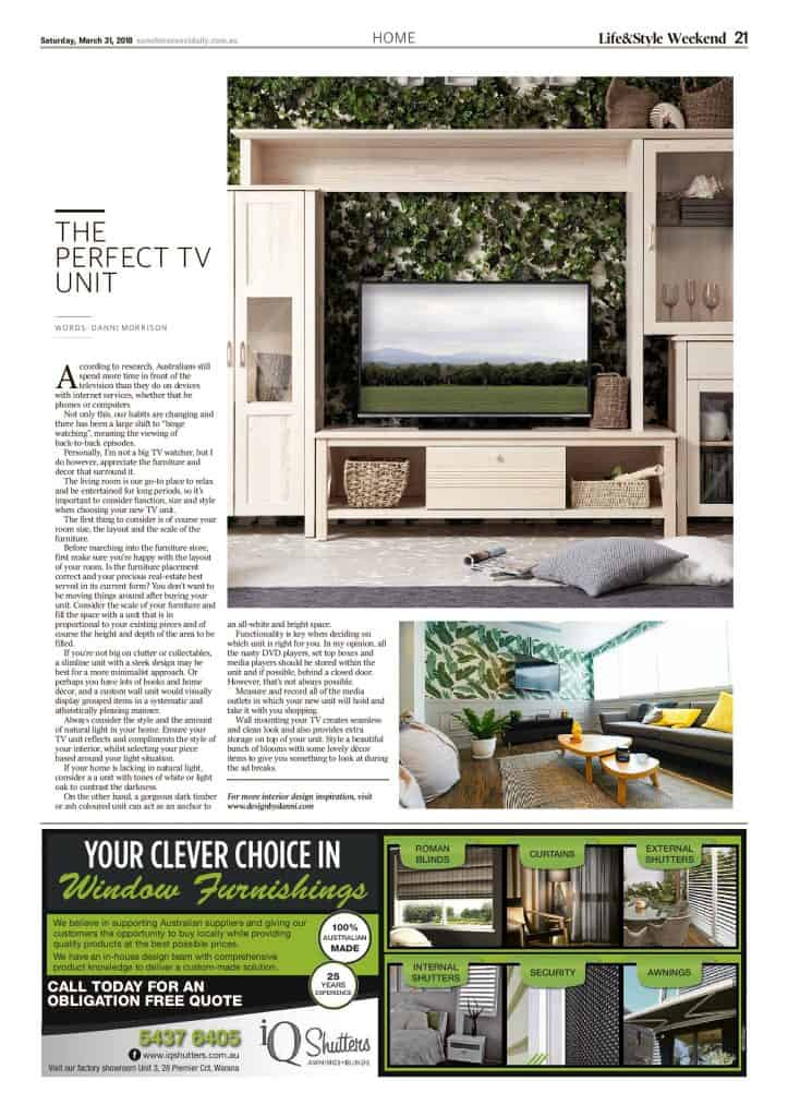 The Sunshine Coast Daily weekend edition Life and Style magazine - The Perfect TV Unit
