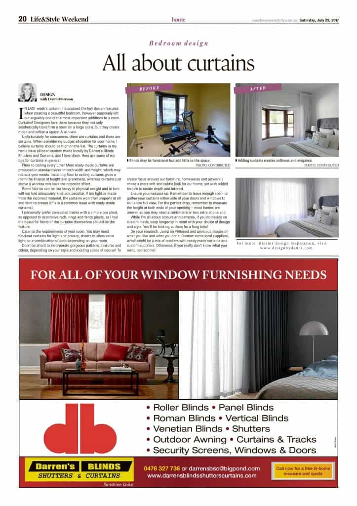 all abouty curtains press features sunshine coast daily article