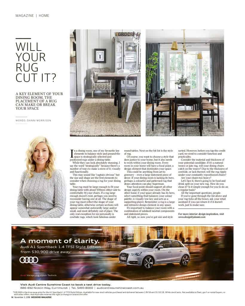The Sunshine Coast Daily weekend edition Life and Style magazine - Will your rug cut it?
