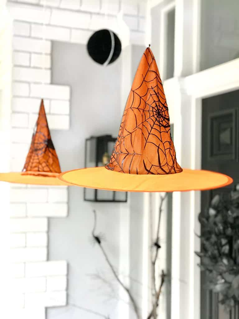 halloween styling- hanging witches hats