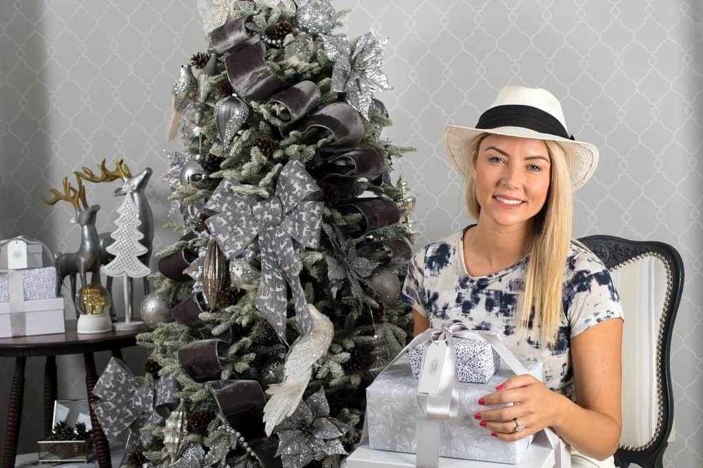 Balsam Hill Christmas Collaboration - danni holding gifts