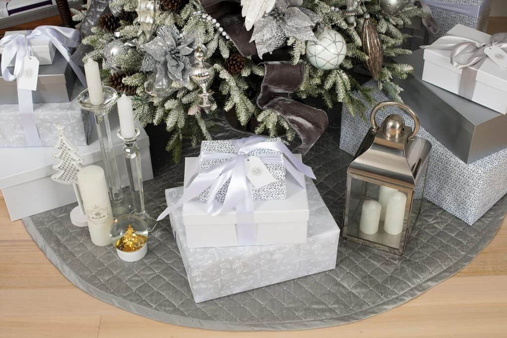 Balsam Hill Christmas Collaboration - gifts and silver skirt detail