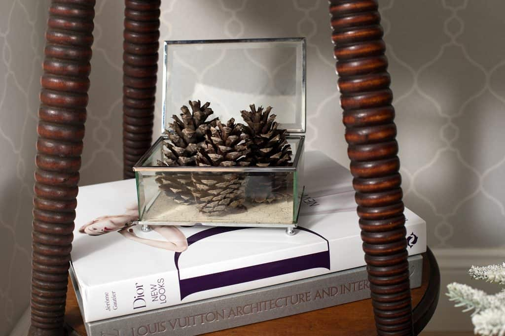 Balsam Hill Christmas Collaboration - timber antique table detail shot