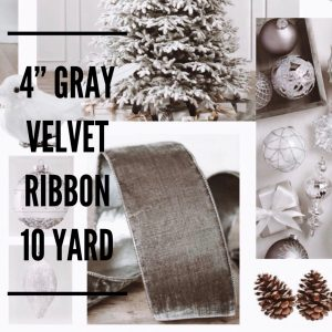 Balsalm Hill Christmas Home Tour 4' Gray Velvet Ribbon 10 Yard